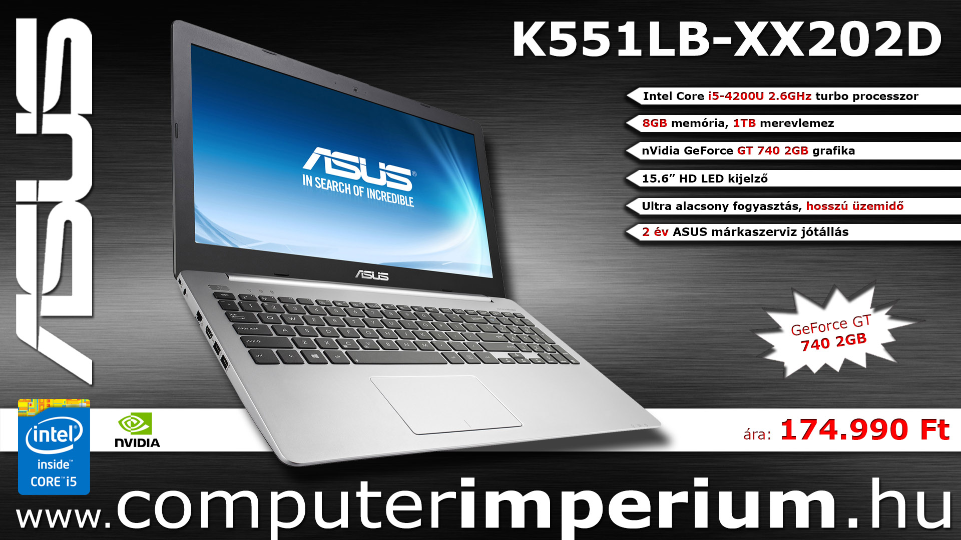 ASUS K551LB-XX202D notebook, laptop (K551LB-XX202D), 8GB RAM-mal!!!